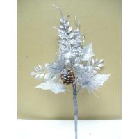 Quality Silver Tinsel Artificial Flower Garlands Bouquets for Decorating house for sale