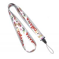Quality Grey Polyester Heat Transfer Print Lanyard For Mobile Phone , USB for sale