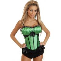 China Green and Black Peasant Burlesque Corset on sale