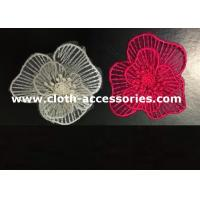 Cheap Handmade Red Fabric Flower Corsage Embroidery For Dual Fabric Dress wholesale