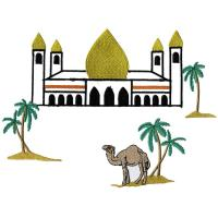Quality embroidery punching camel desert coconut tree_WAL9C03 for sale