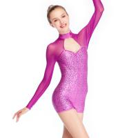 Quality Contemporary Biketard Dance Wear Mesh Joints Sequins Gymnastics Performance Dance Competition Clothes for sale