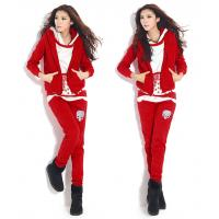 China Women / Ladies Hooded Sweatshirts Red Cotton Casual Hoodies Set on sale