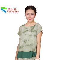 Quality Fashion Designs Womens Casual Blouses 100% Cotton Material With O Neck Collar for sale
