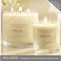 China scented three cotton wick soy wax candle in clear glass jar  with gift box on sale