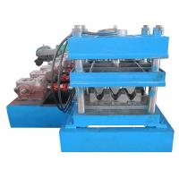 China Two Waves Crash Barrier Roll Forming Machine Blue Color With Hydraulic Decoiler on sale