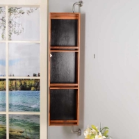 China Wall Mounted Rotatable 3mm Mirror Pine Wooden Bathroom Storage on sale
