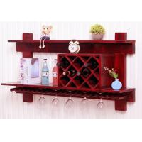 Quality Wall Mounted Wooden Wine Rack And Glass Holder Cabinet , Floating Wine Glass Rack Shelf for sale