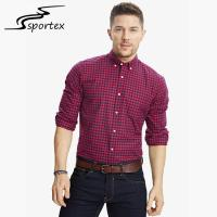 Quality Long Sleeve Slim Fit Cotton Shirts Washed Technics Anti Shrink Design for sale