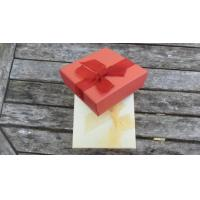 Quality satin lined square paper box with organza bow for sale