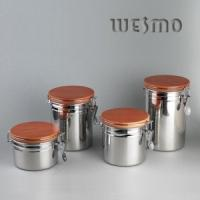 Quality Stainless Steel Circulaire Shaped Storage Pot Set for Family Kitchen Storage Container for sale