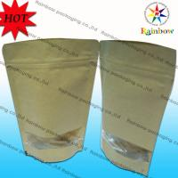 Quality Stand Up Ziplock Brown Kraft Customized Paper Bags With Window For Snack Packaging for sale