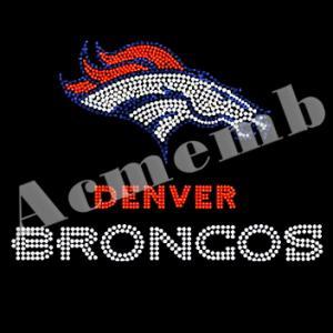 Quality Denver Broncos Rhinestone Heat Transfers Hot Fix Motif For T Shirts for sale