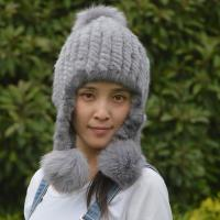 Checked Style Knit Winter Hat , Adult Size Womens Knit Hats Customized Color