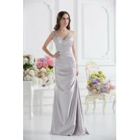 Sexy Silver V Neckline Strap Mermaid Long Evening Dress Prom Gowns Beads