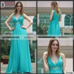 Quality New Arrival V-neck Pleat Light Green Sleeveless Floor Length Party Evening Dresses 2015 for sale