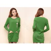 Spring Long Sleeve Womens Wool Skirts Scoop Neck Pullover In Green