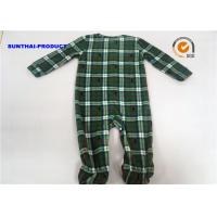 China Grid AOP Baby Pram Suit YKK Zipper Closure 100% Polyester Micro Fleece Coverall on sale