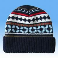 Quality 100 Percent Acrylic Knitted Jacquard Hat for sale