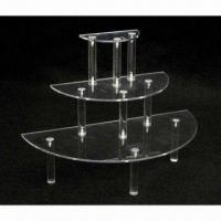 Quality Acrylic Round Display Table, 3 Tiers and Shelves for sale