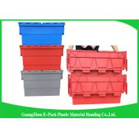 Quality Red Plastic Attached Lid Containers / 43L Plastic Storage Bins for sale