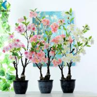 Cherry Blossom Artificial Potted Plants , Peach Flower Fake Bonsai Plants for sale