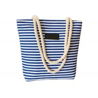 China Women's Canvas Shopping Bags Blue / Red / Black Striped With Rope Handles on sale