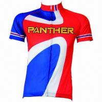 Buy cheap Bicycle Short-sleeved Jersey Suits, Made of 100% Polyester from wholesalers