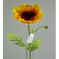 Quality 25 real touch PU artificial flowers Poppy orange for sale