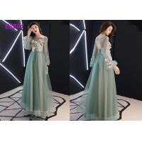Floral party dress green pink blue colors long puff sleeves tulle evening dress