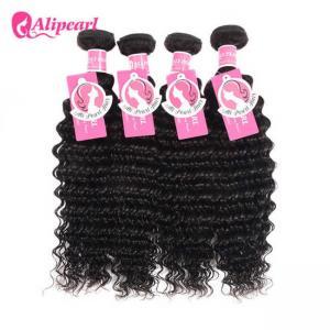 Quality Brazilian Virgin Remy Hair 4 Bundles Deep Wave , 8A Curly Hair Bundle Deals for sale