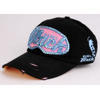 Buy Cool Hip-Hop Black Cotton Baseball Caps Curved Bill For Women / Ladies at wholesale prices