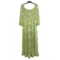 China Printed Custom Womens Dresses Off Shoulder Long Frill Dresses With Smock Design on sale