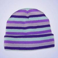 Quality 100% Acrylic Knitted Stripe Hat with Silver Thread for sale