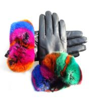 Quality Beautiful Design Colored Leather Gloves , Rabbit Fur Gloves Black Color for sale