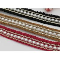 China Beaded Decorative Elastic Bands Red / Yellow / Black For Girls Shoe Decoration on sale