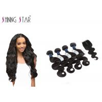 Quality 4 Bundles Unprocessed Remy Hair Extensions Weave With Closure No Bad Smell for sale