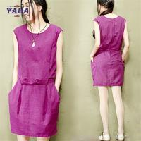 China Slim solid color cotton linen vest women casual girls sexy night dress photos for ladies on sale