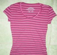 China Stock Garment Ladies Stripe T-shirt on sale