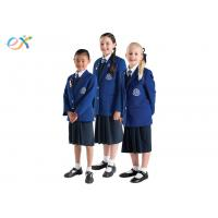 Quality EEC Custom School Uniforms Blue Blazer White Shirts / Shorts Skirt For Primary Middle for sale