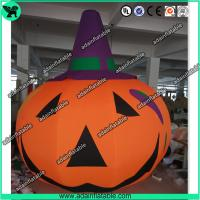 Quality 3m Customized Oxford Inflatable Pumpkin With Witch Hat  For Halloween Decoration for sale