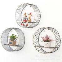 Quality Wire Mesh Wall Mounted shelf Wall Hanging Storage Rack Round Metal Shelf Wall Display with 1 shelves for sale