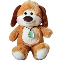 China Sitting Pose Brown Dog with Tag Badge Plush Toys on sale
