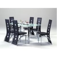 Quality chromed-plated/tempered glass dining table T025 for sale