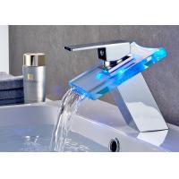 Quality ROVATE Watermark LED RGB Faucet Spout Washroom Waterfall Basin Mixer Tap for sale