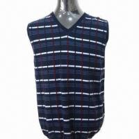 2013 Men's Sweater/Vest with Intarsia Pattern, Made of 100% Wool