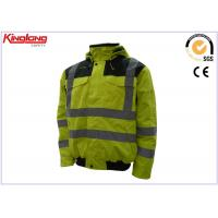 Quality Fluorescent Yellow Plus Size HIVI Reflective Winter Work Jackets Outdoor for sale