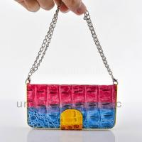 Quality Multi-Color rainbow Crocodile Skin Handbag Leather Case For iPhone 5/5s for sale