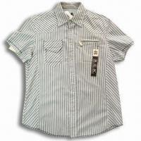 Quality Men's Short-sleeve Shirt with Special Zipper, Stripe Design for sale