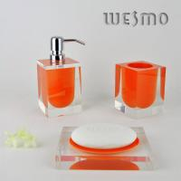 Quality Polyresin Bathroom Set with Orange inside and Transparent Outside for sale